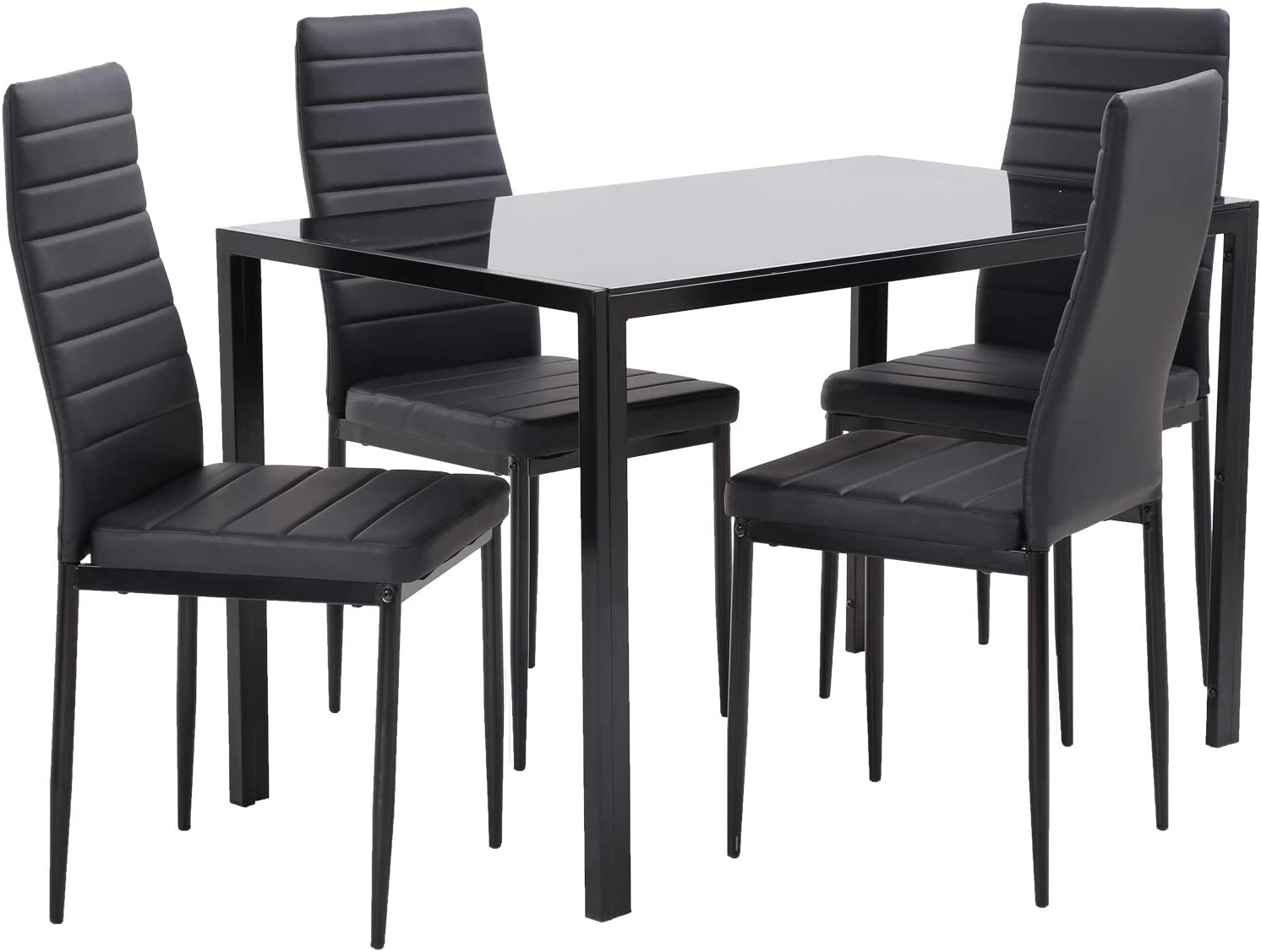 Amazon Com Dining Table Set Dining Room Table Set Dinner Table Dinette Sets For Small Spaces Dinning Table With Chairs Set Of 4 Kitchen Dining Table Set For Breakroom Home Furniture Rectangular