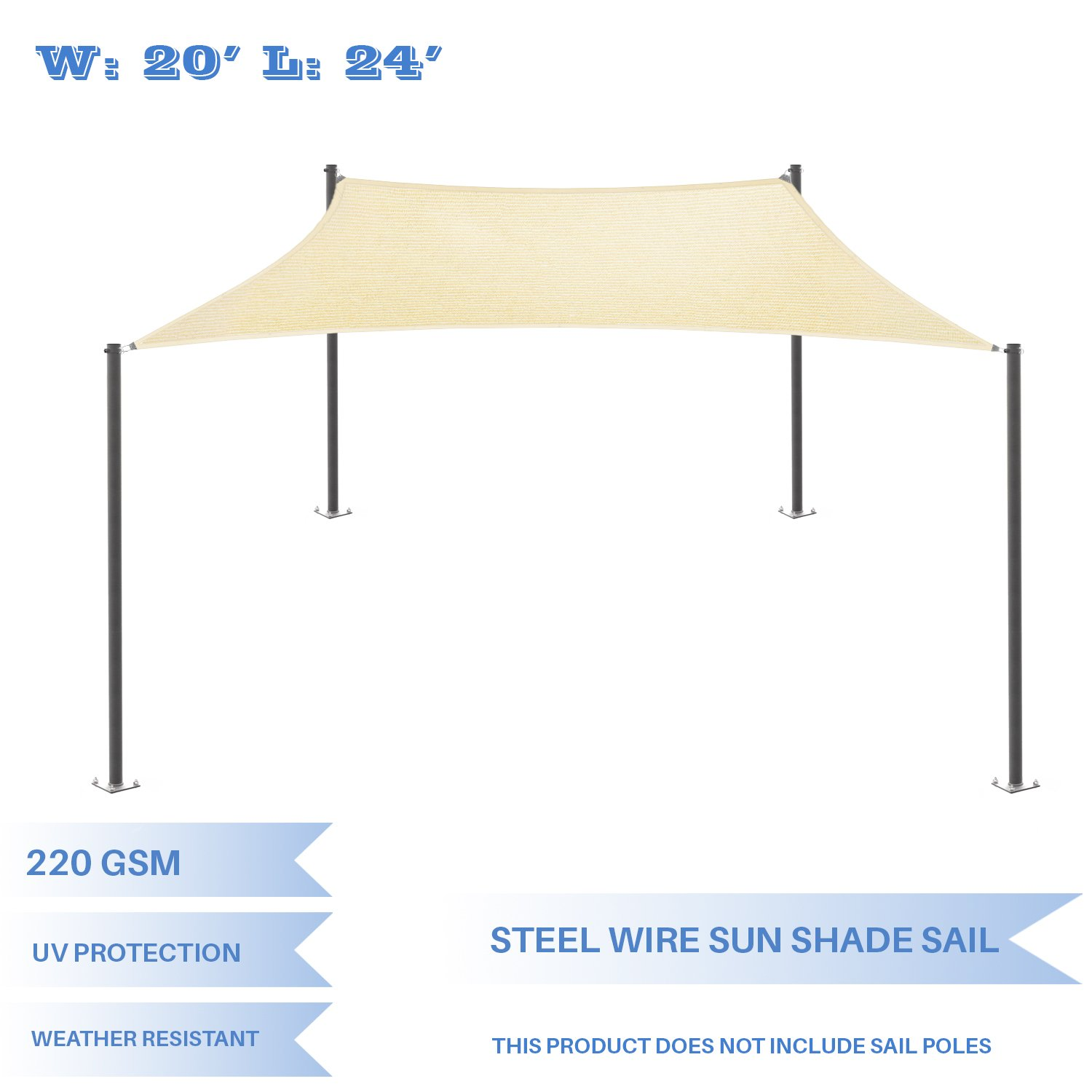 E&K Sunrise 20' x 24' Strengthen Large Sun Shade Sail Reinforced by Steel Wire- Beige Rectangle Heavy Duty - (220 GSM)-Perfect Patio Outdoor Garden Backyard