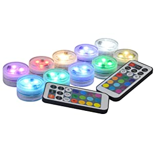 "Submersible LED Lights Flameless LED Candles Tea Lights 1.5"" Round cr2450 Battery Operated Super Bright White Warm White RGB LED with Remote for Party Events Vase Lantern Wedding Centerpieces Lighting"