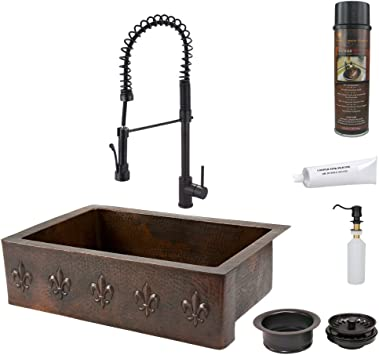 33 copper hammered single bowl farmhouse kitchen sink with fleur de lis in oil rubbed bronze