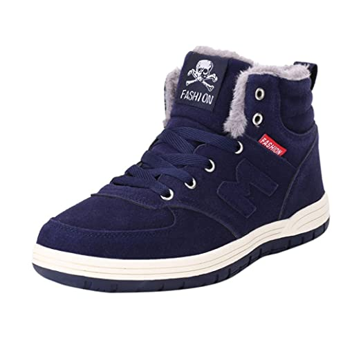 61b53cb6ede0eb Amazon.com: Aurorax Mens Anti-Slip Snow Boots with Fully Fur Lined High Top/Low  Top: Clothing