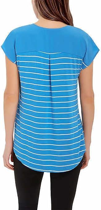 X-Large, Pacific Blue Stripe Adrienne Vittadini Womens Short Sleeve V-Neck Top