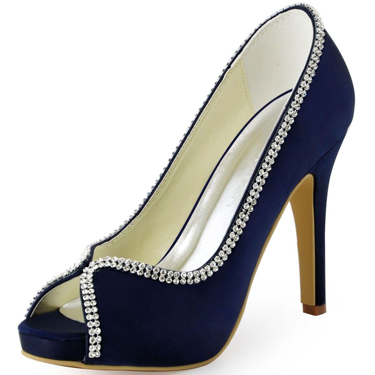 ElegantPark EP11083 Women Pumps Peep Toe Rhinestones Platform High Heel Satin Evening Wedding Dress Shoes B01196GO94 5 B(M) US (true fitting 6 US)|Navy Blue
