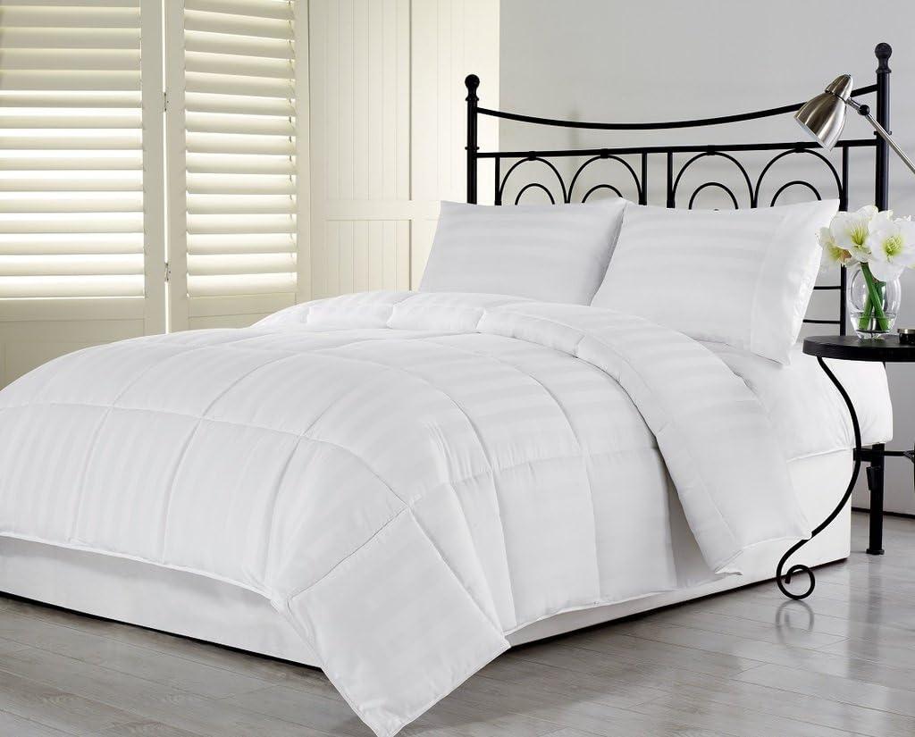 Amazon Com 1000 Thread Counts Alaska King White Striped 8pc Complete Bedding Set 100 Egyptian Cotton 8 Deep Pocket And Drop Length Pa 2 Home Kitchen