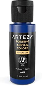 Arteza Acrylic Pouring Paint, 2oz (60 ml), Phthalo Blue High Flow Acrylic Paint, No Mixing Needed, Paint for Pouring on Canvas, Glass, Paper, Wood, Tile, and Stones