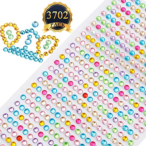 Lowest Price! SUBANG Multicolor Self-Adhesive Rhinestone Sticker Sheet, 3mm 4mm 6mm,3 Size, 3702 Pie...
