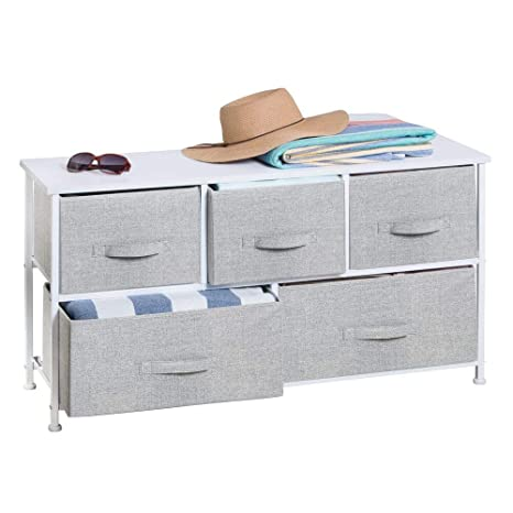mDesign Extra Wide Dresser Storage Tower - Sturdy Steel Frame, Wood Top, Easy Pull Fabric Bins - Organizer Unit for Bedroom, Hallway, Entryway, ...