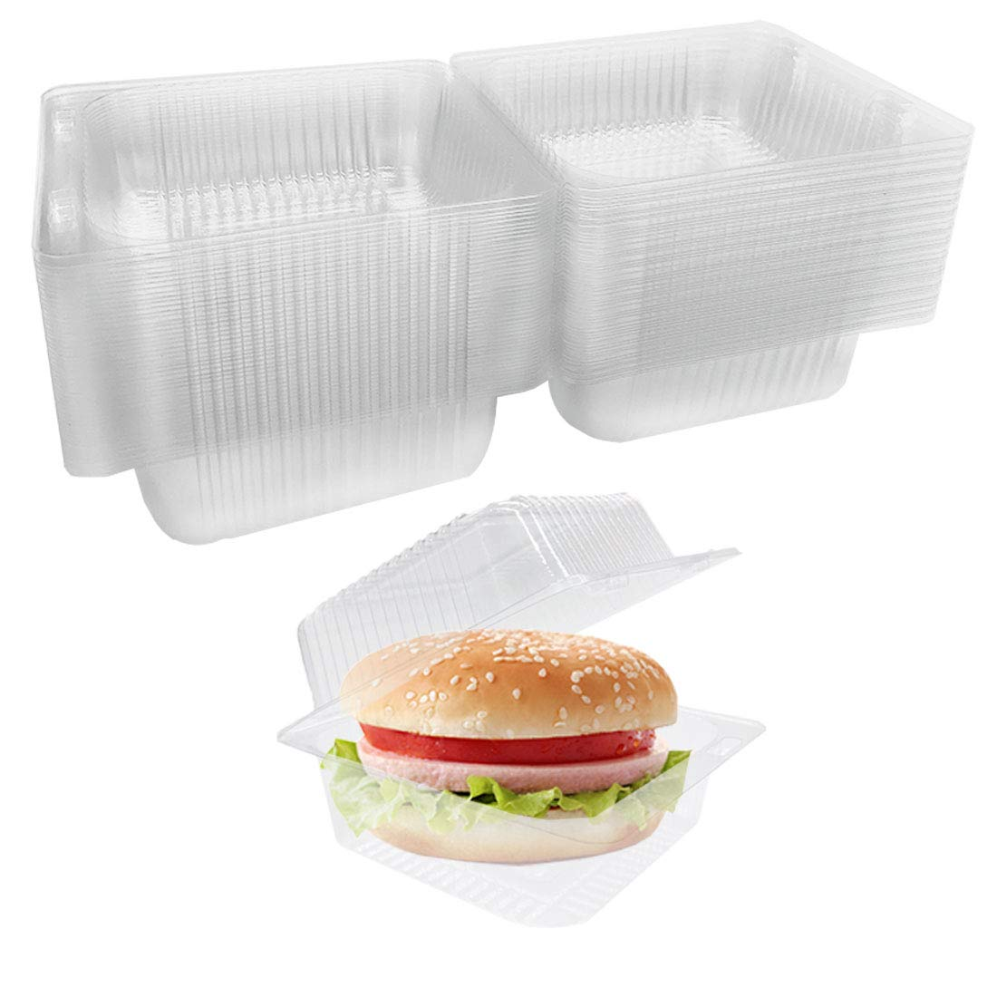 50 Pcs Clear Plastic Take Out Containers,Square Hinged Food Cake Slice Container,Dart Containers Disposable Clamshell Dessert Container with Lids for Food,Salad,Sandwiches,Hamburger and Fruits