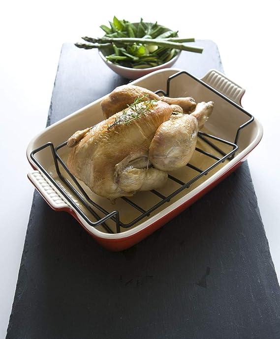 Le Creuset Rejilla asadora antiadherente 3Ply para bandejas de 35 cm, Dimensiones: 31 x 26.3 x 10 cm, 94007935000000: Amazon.es: Hogar