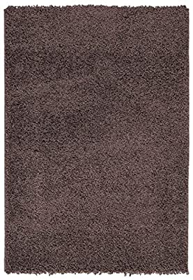 Ottomanson Soft Cozy Color Solid Shag Rug Contemporary Living and Bedroom Soft Shaggy Kids Rugs, 5' x 7', Brown