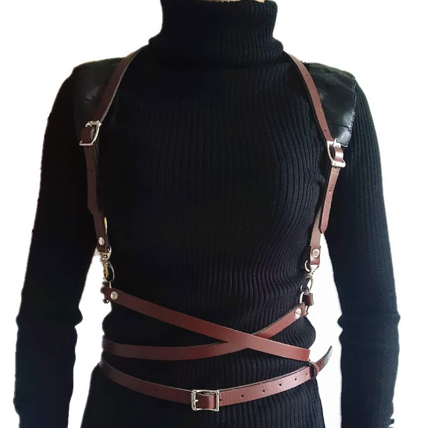 Harness Belts Men Leather Suspenders with Rounds Waits Belt Woman Body Jewelries