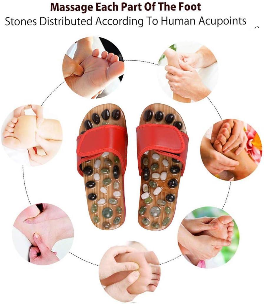 Xrten Pantofole Agopuntura Pebbles Pantofole Massaggio Ciottoli Velcro Migliora la Circolazione Sanguigna ed Elimina le Tossine Accumulate per il Bagno Rosso