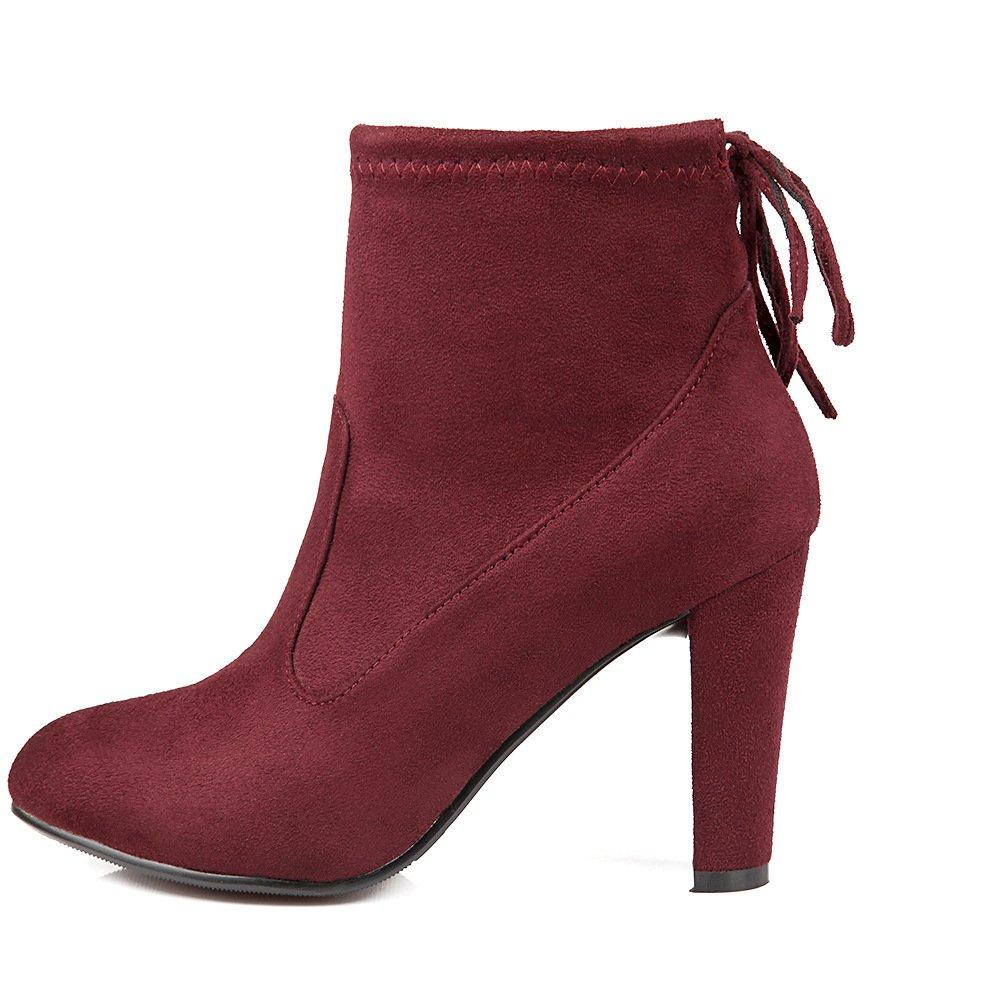 - DYF Chaussures femmes Bottes courtes Martin Bride rugueux de couleur solide,Vin rouge,37