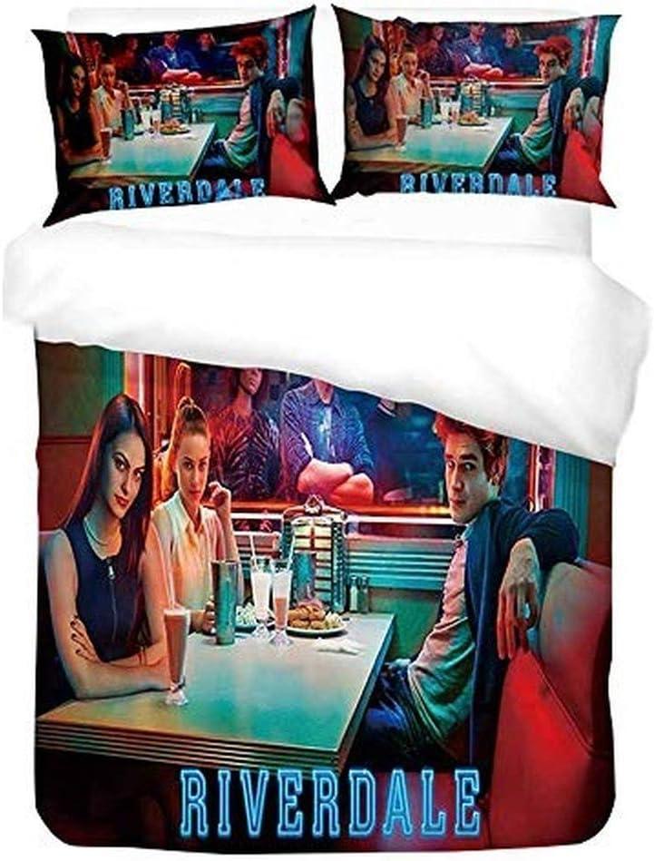 XWXBB Parure de lit en Microfibre Riverdale avec Housse de Couette et taie doreiller Motif Southside Single 135x200cm a01