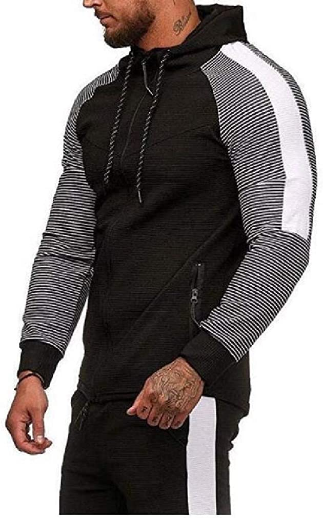 Doufine Mens Oversized Striped Hoodie Athletic Contrast Hooded Sweatshirt
