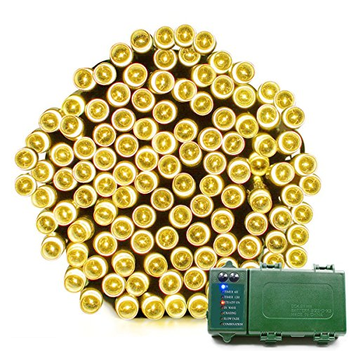 Vmanoo Battery Operated 200 LED String Lights Fairy Christmas Lighting Decor Timer For Outdoor, Indoor, Garden, Patio, Lawn, Outside, Home, Curtain Xmas Decorations (Warm White) (Christmas Large Outdoor For Trees Sale)