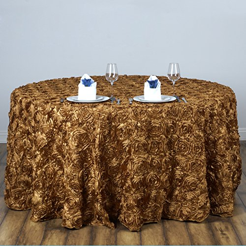 """BalsaCircle 120"""" Gold Satin Raised Rosettes Round Tablecloth Wedding Party Dining Room Table Linens"""