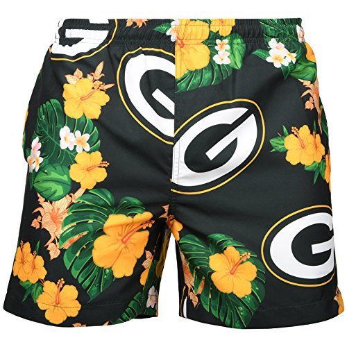 "NFL Green Bay Packers Mens Team Logo Floral Hawaiin Swim Suit Trunksteam Logo Floral Hawaiin Swim Suit Trunks, Team Color, X-Large (34""-36"")"