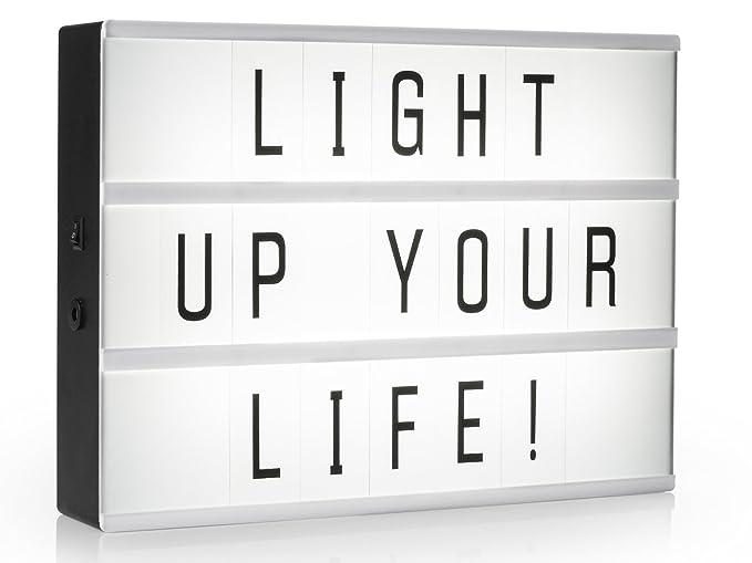 Light de caja/bombilla Buzón A4 con 85 letras y símbolos, decoración de luz