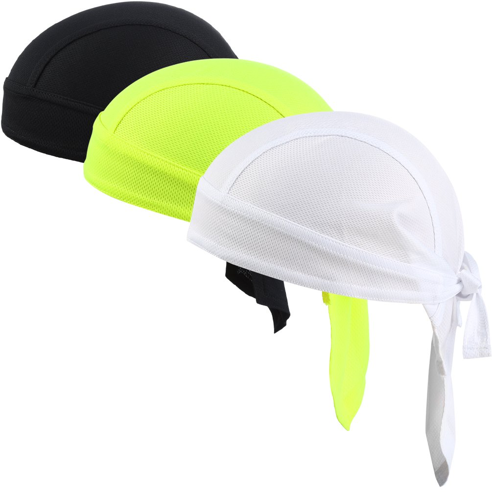 VBIGER Sweat Wicking Beanie Skull Cap Quick Dry Adjustable Cycling Hat Wrap Rag Men Women (Set 2(3 Pieces))