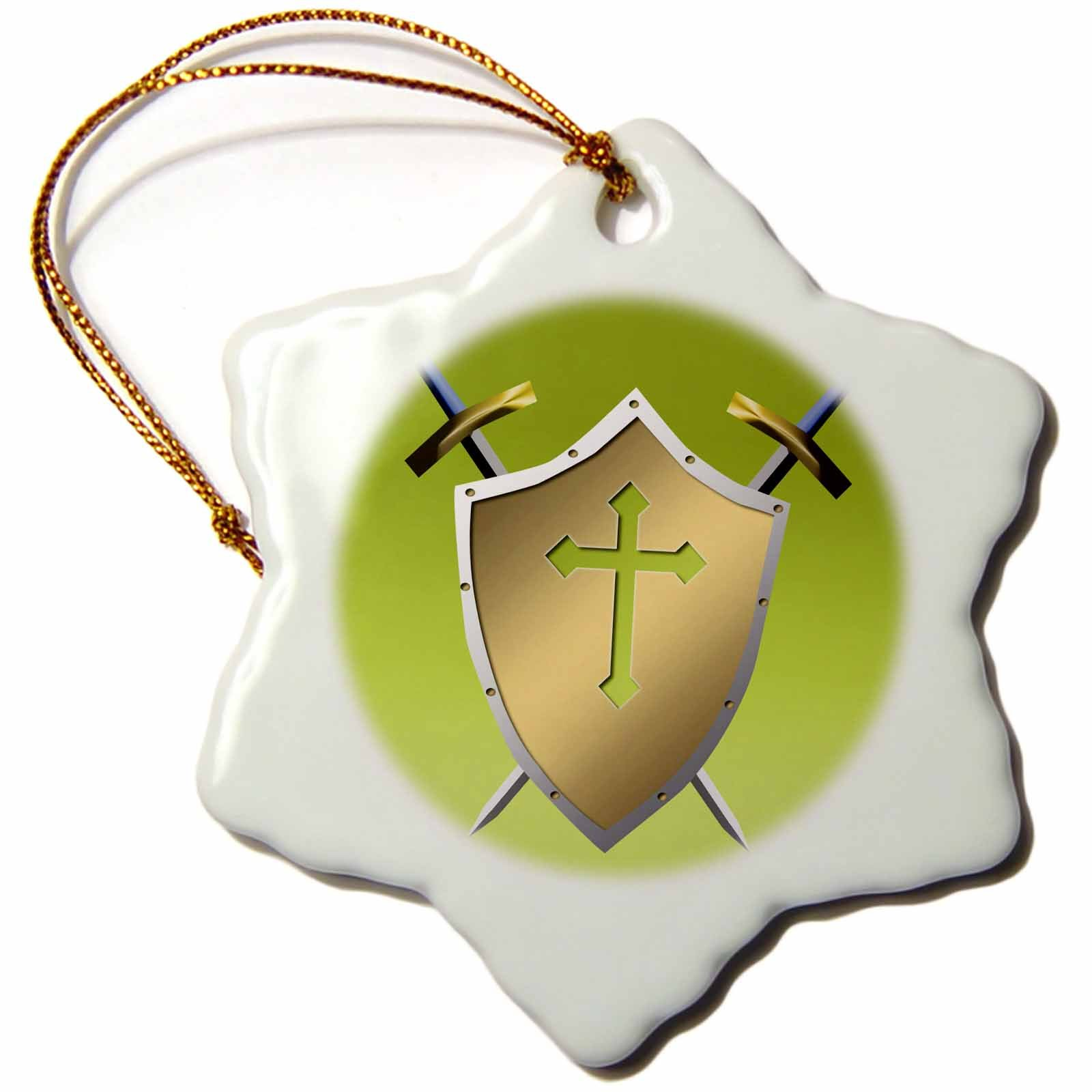3dRose Golden Shield with crossed swords and the Christian Cross and background in Earls Green - Snowflake Ornament, Porcelain, 3-inch (orn_40077_1)