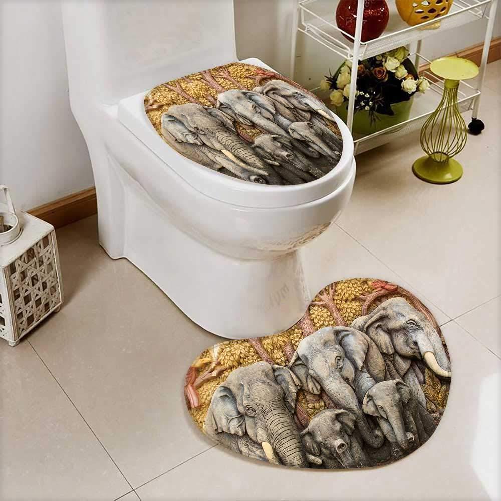 Analisahome 2 Piece Shower Mat set Native Thai style molding art Custom made Heart shaped foot pad Set by Analisahome