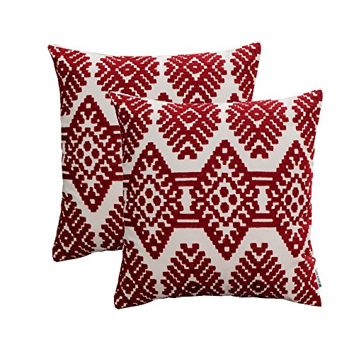 HWY 50 Embroidered Decorative Throw Pillow Covers Set Cushion Cases for Couch Sofa Living Room Modern Rhombus Burgundy Geometric 18x18 inch Pack of 2