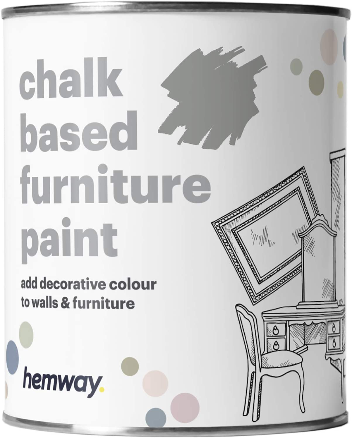 Hemway Dove Grey Chalk Based Furniture Paint Matt Finish Wall and Upcycle DIY Home Improvement 1L / 35oz Shabby Chic Vintage Chalky (50+ Colours Available)