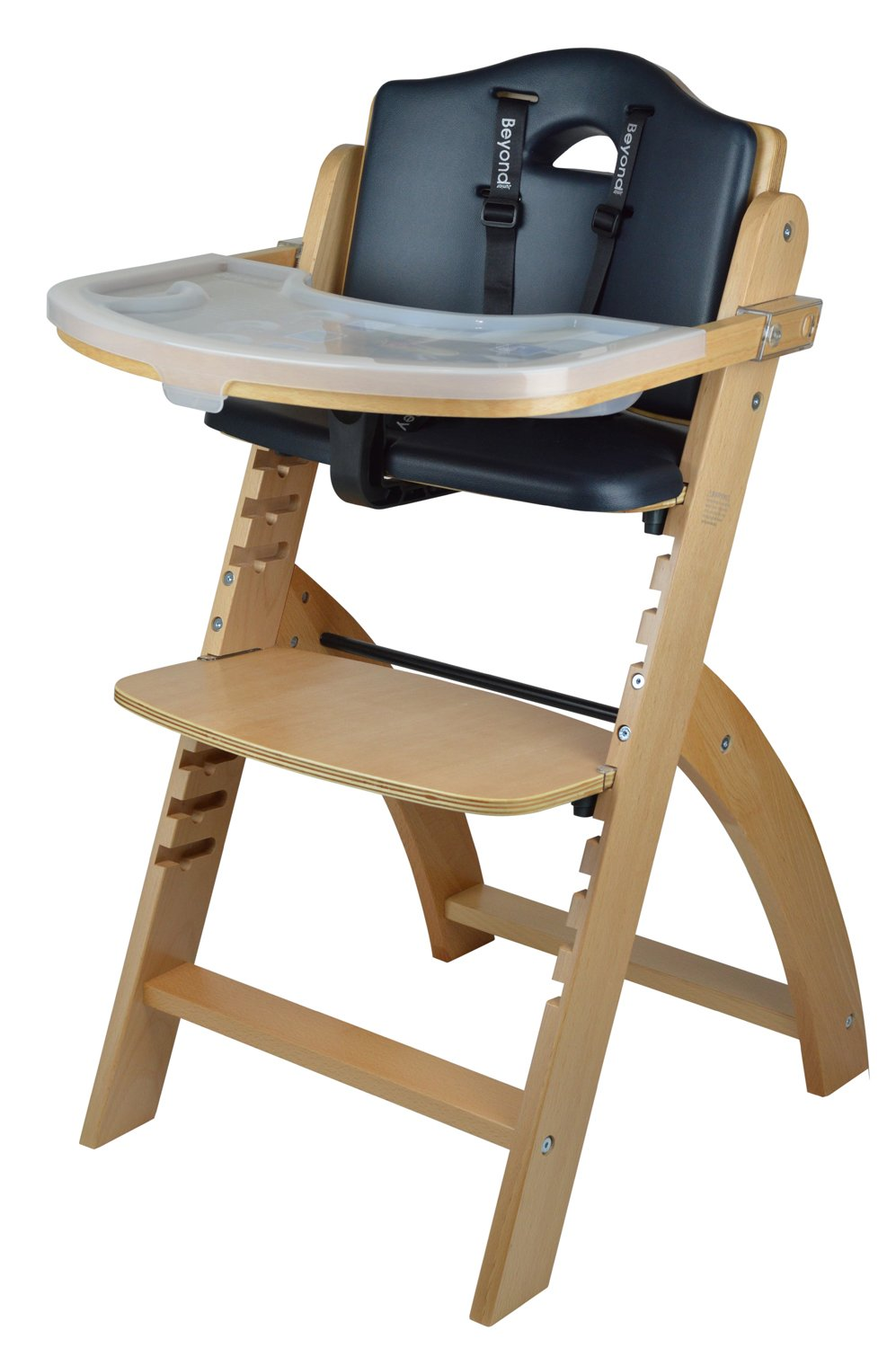 Abiie Beyond Wooden High Chair with Tray. The Perfect Adjustable Baby Highchair Solution for Your Babies and Toddlers or as a Dining Chair. (6 Months up to 250 Lb) (Natural Wood - Black Cushion) by Abiie