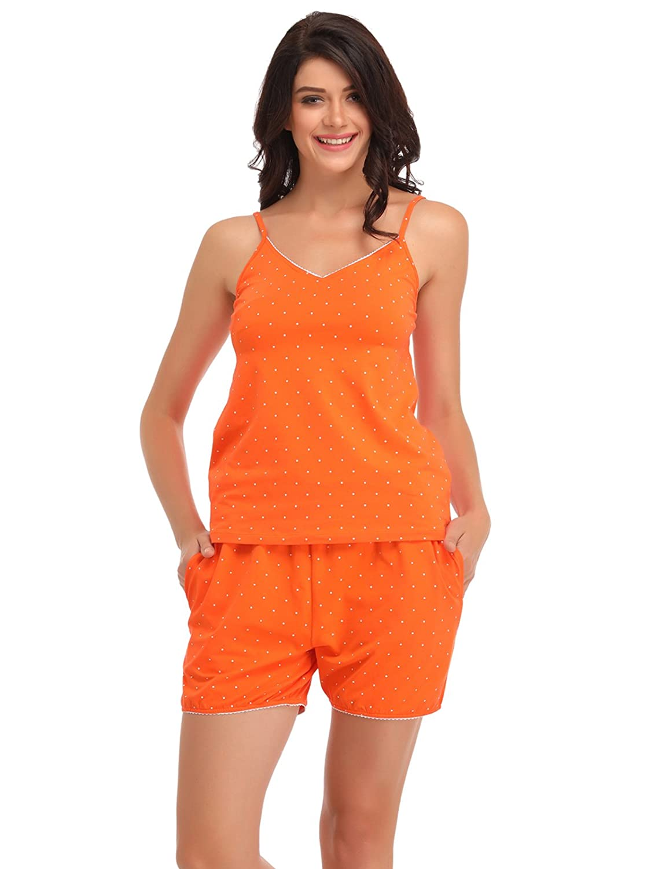 Clovia Cotton Printed Cami & Shorts - Orange