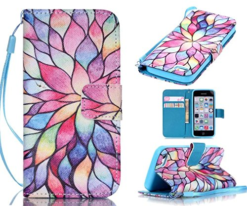 5c Case, iphone 5c Case, ArtMine Colorful Flowers Printed PU Leather Magnetic Closure Wallet Pouch Phone Case with Wristlet and Credit/ID Card Cash Slot for Apple iphone 5c (Colorful Cases Iphone 5c)