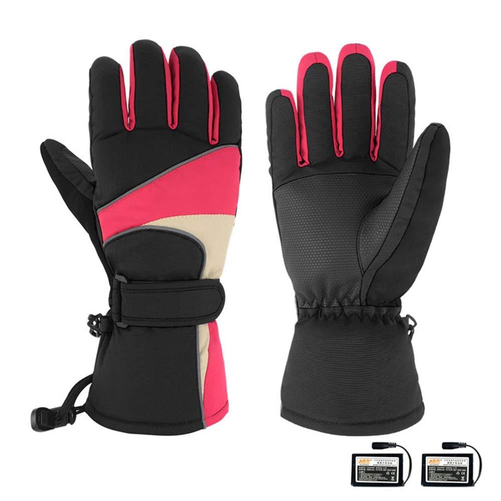 Dulan Elektrische Beheizte Handschuhe Touchscreen Handschuhe Beheizte Handschuhe mit Akku Elektrische Ski-Fahrrad-Motorrad Schnee-Handschuh for Männer und Frauen (Size : M-Red Black)