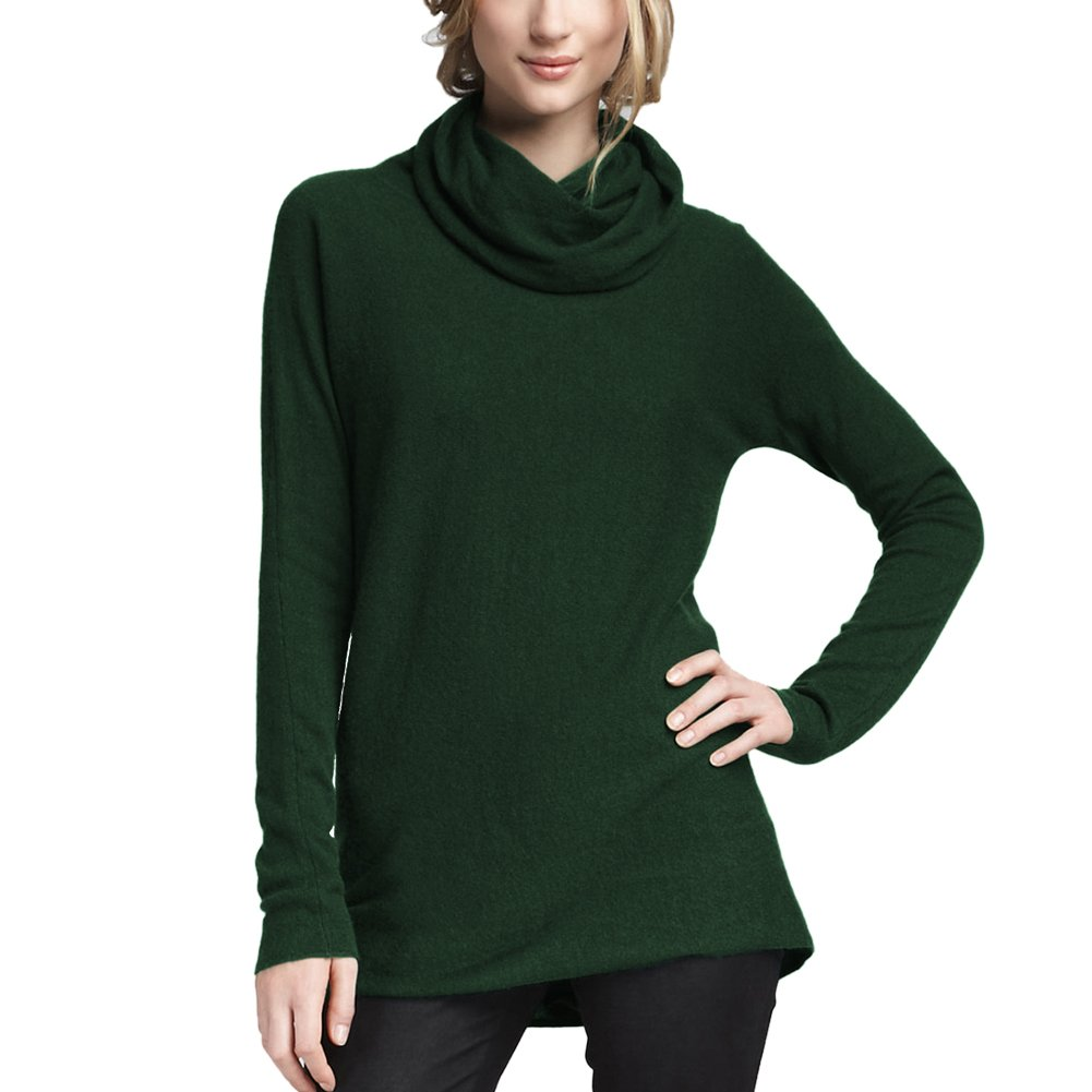 Parisbonbon Women's 100% Cashmere Cowl Neck Sweater Color Hunter Green Size 3X