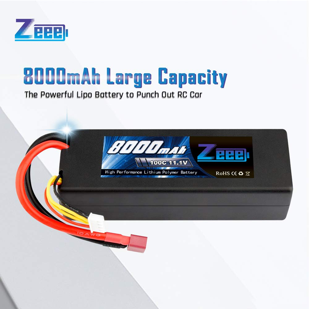 Zeee 8000mAh 11.1V 100C 3S RC Lipo Battery Pack with Deans T Plug for 1/8 1/10 RC Car Model Traxxas Slash Buggy Team Associated by Zeee (Image #1)