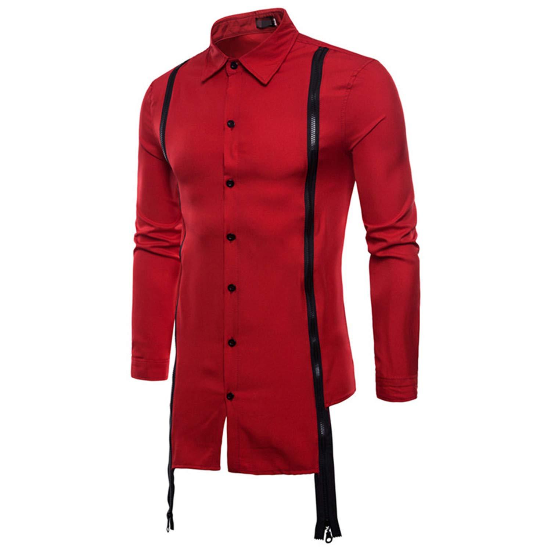 Men Shirt Spring New Brand Long Sleeves Casual Double Zipper Fit Soild Color Shirt