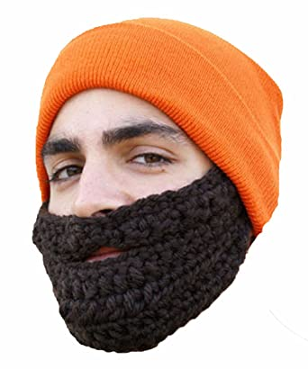 d95bcbaaa4b Mens Rock Jock Fuzz Face Hat with Detachable Knitted Beard - Beanie Hat-ORANGE BROWN   Amazon.co.uk  Clothing
