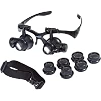 Beileshi Glsses Magnifier 10x 15x 20x 25x LED Illumination Double Eyes Jewelry Magnifying Loupe Eyeglass Repair Tools for Miniature Engraving