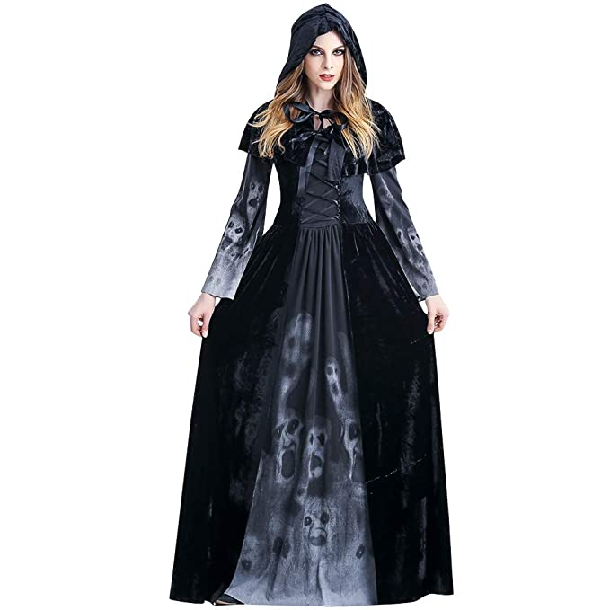 Liny Adulto Disfraz de Halloween Dama Traje de Bruja Mujeres Cosplay Vampiresa Vestido de Calavera