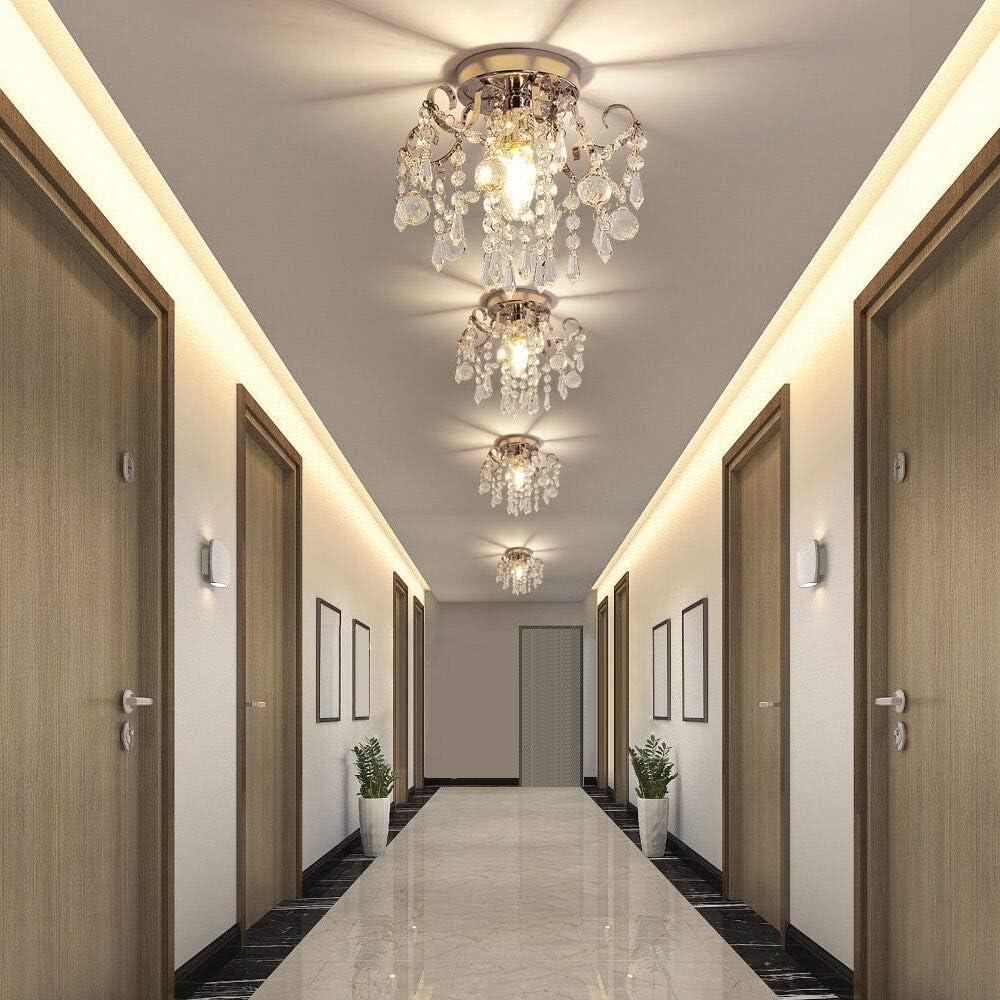Closet,Entrance,Stairs Hallway Flush Mount Ceiling Light 1 Light Modern Chrome Iron Small Raindrop Crystal Ceiling Fixture for Aisle Mini Crystal Chandelier