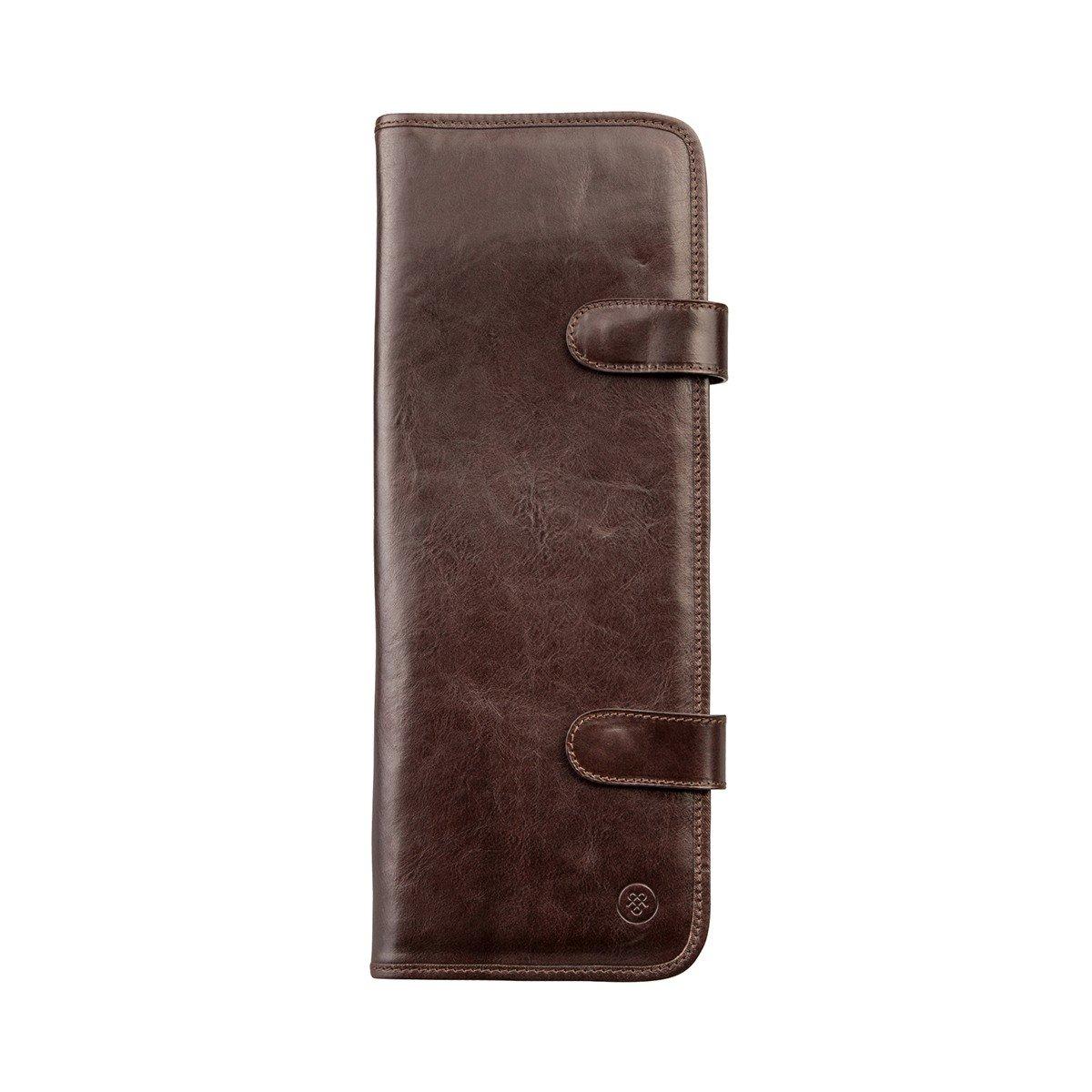 Maxwell Scott Luxury Italian Leather Tie Carrier, Dark Chocolate Brown (Tivoli)