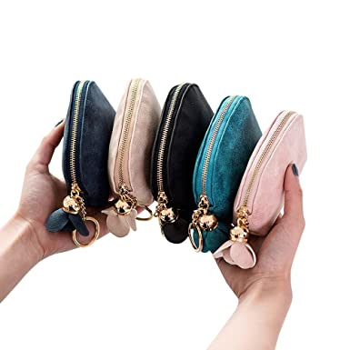 Toamen Mini Billetera De Cuero Para Mujer Holder Zip Monedero Bolso De Embrague
