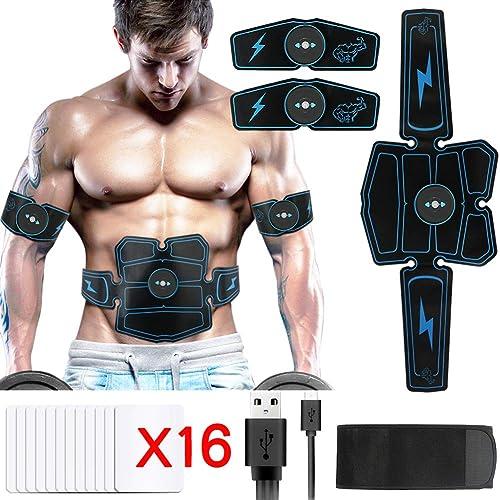 Electroestimulador Muscular Hieha Abdominales Masajeador Eléctrico Cinturón con USB Estimulador Muscular Ejercitar Abdomen Brazo Piernas Cintura para Hombre Mujer Azul