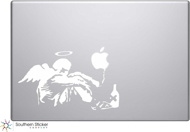 Banksy Fallen Angel Smoking Vinyl Car Sticker Symbol Silhouette Keypad Track Pad Decal Laptop Skin Ipad Macbook Window Truck Motorcycle (White)