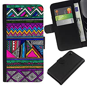 Sony Xperia Z3 D6603 / D6633 / D6643 / D6653 / D6616 Modelo colorido cuero carpeta tirón caso cubierta piel Holster Funda protección - Pattern Pen Drawing Purple