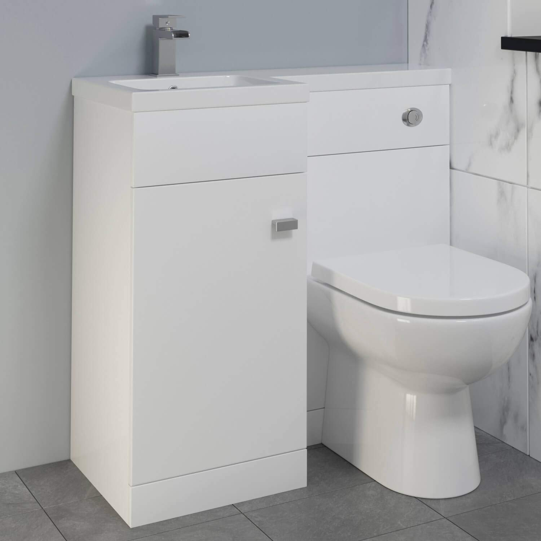 Aurora 900mm Bathroom Vanity Unit Basin /& Toilet Combined Furniture Left Hand White