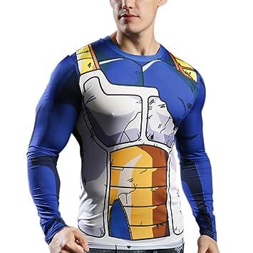 sibaway   Tshirt Vegeta Manches Longues   Déguisement Dragon Ball   T-Shirt  Musculation Goku adf99fad20ba