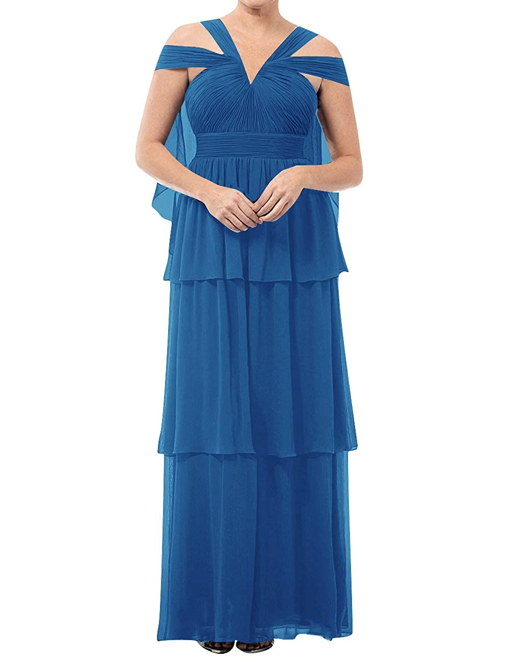 bluee Mother of The Bride Dresses VNeck Long Mother of Groom Dress Plus Size Evening Gowns