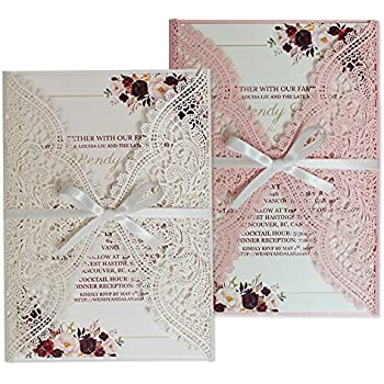 Amazon Com Elegant Lace Wedding Invitations Blank Or Customized