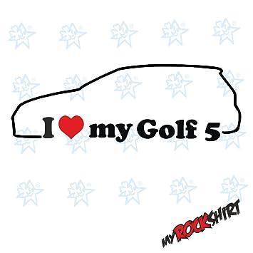 2 X I Love My Vw Golf 5 Ca 15x5 Cm Silhouette Aufkleber Sticker