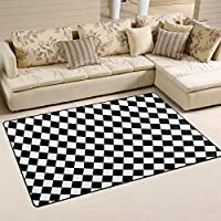 DEYYA Non-slip Area Rugs Carpet Home Decor,Black White Checkered Squares Pattern Floor Mat Doormats for Living Room Bedroom 31 x 20 inches